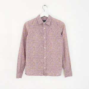 A.P.C purple floral print cotton blouse shirt XS S